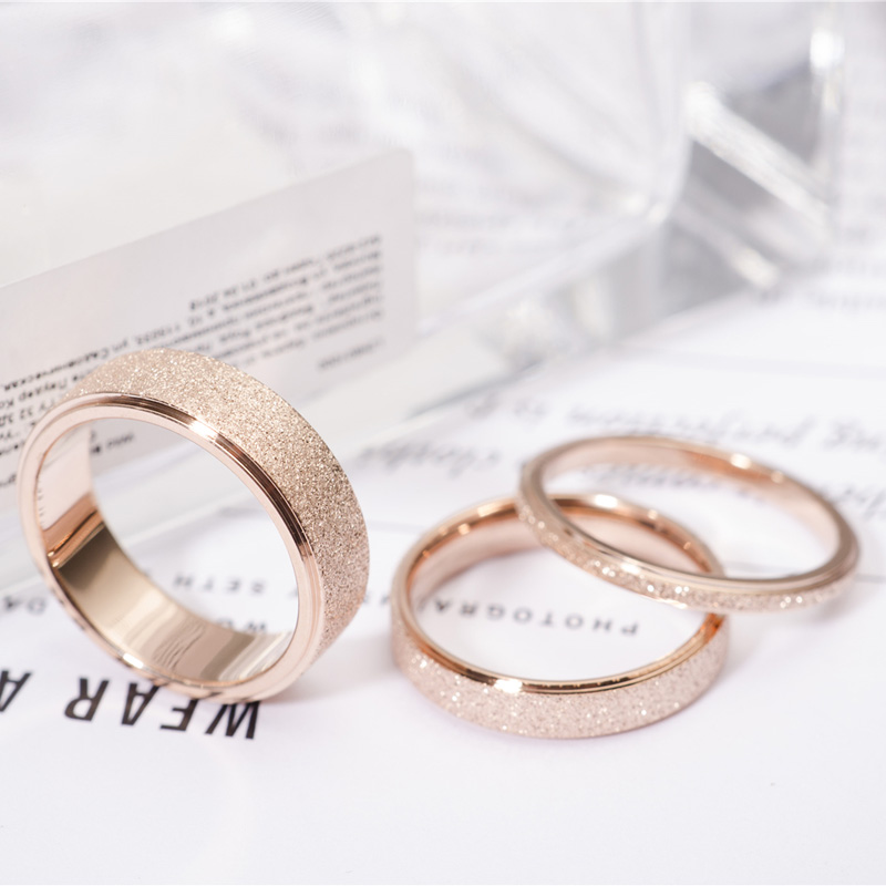 Rose Gold Color Frosted Finger Ring for Woman Man Wedding Jewelry 316L Stainless Steel Top Quality Never Fade