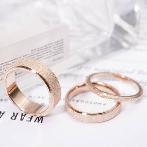 Finger-Ring Frosted Wedding-Jewelry Top-Quality Never Fade Rose-Gold-Color 316l-Stainless-Steel
