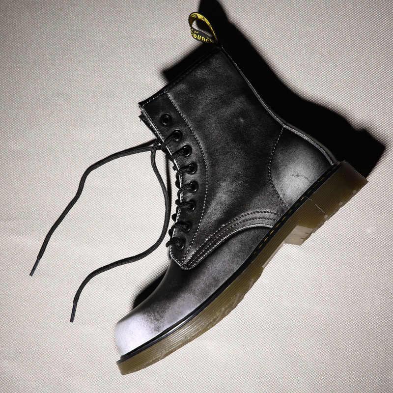 Ayakkabı bağcıkları Martin çizmeler bölünmüş deri tabanlık yüksek en iyi motosiklet botları kış/sonbahar Doc Martin kadın ayakkabı