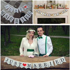 Image 2 - Just Married Banner Mr Mrs Rustic Garland Wedding Table Decoration Groom Bride To Be Balloon Banner Bachelorette Party Supplies