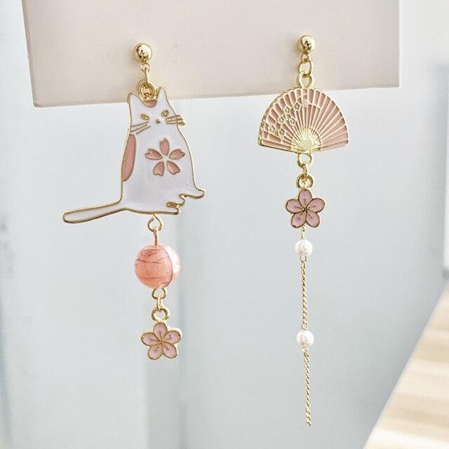 Korean Style Flower Cute Animal Dangle Earrings For Women Moon Stars Kitten Rabbit Balloon Asymmetric Earring Party Jewelry Gift 1