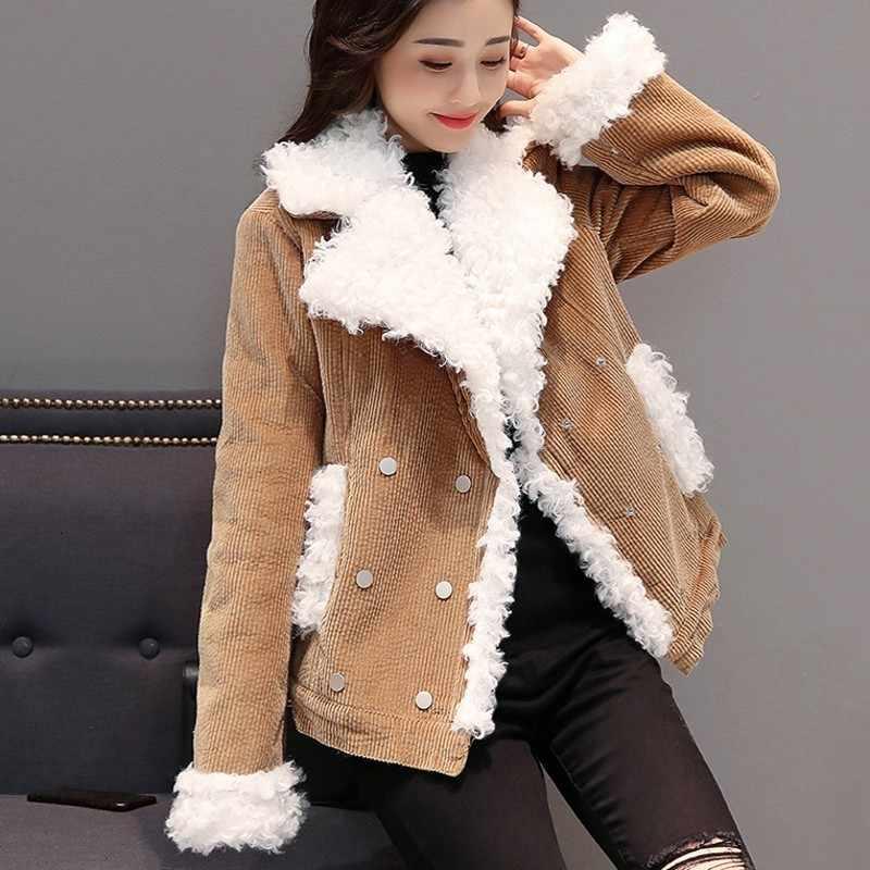 Moda quente inverno das mulheres lambswool veludo jaquetas estilo preppy manga longa dupla breasted rua feminino grosso curto casacos