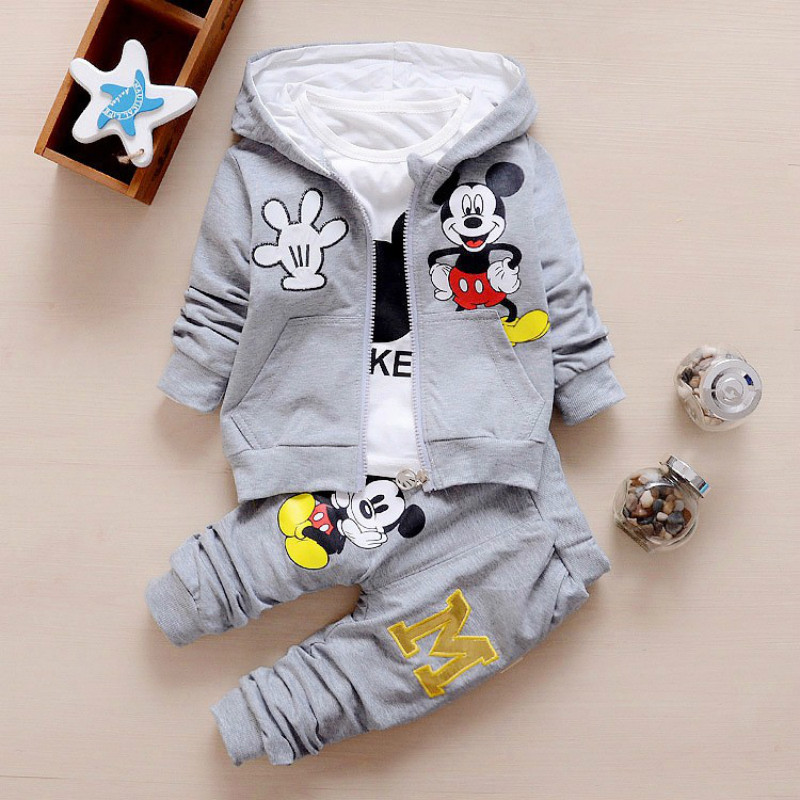 3pcs/set Baby Boy Girl Clothes Cartoon Mickey Mouse Bear Hooded Coat+T Shirt+Pant Kid Sport Suit For Children Clothing Tracksuit