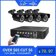 Hiseeu בית מצלמות אבטחת מערכת מעקב וידאו ערכת טלוויזיה במעגל סגור 4CH 720P 4PCS חיצוני AHD אבטחת מצלמה מערכת