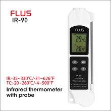 Пищевой лазерный инфракрасный термометр FLUS, ИК термометр с щупом, портативный цифровой электронный Уличный Термометр 2 в 1