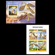 Moçambique, 2020, dinossauros, pterfish, aves ancestrais, animais pré-históricos, paleonts, coleção de selos, 2m brandy