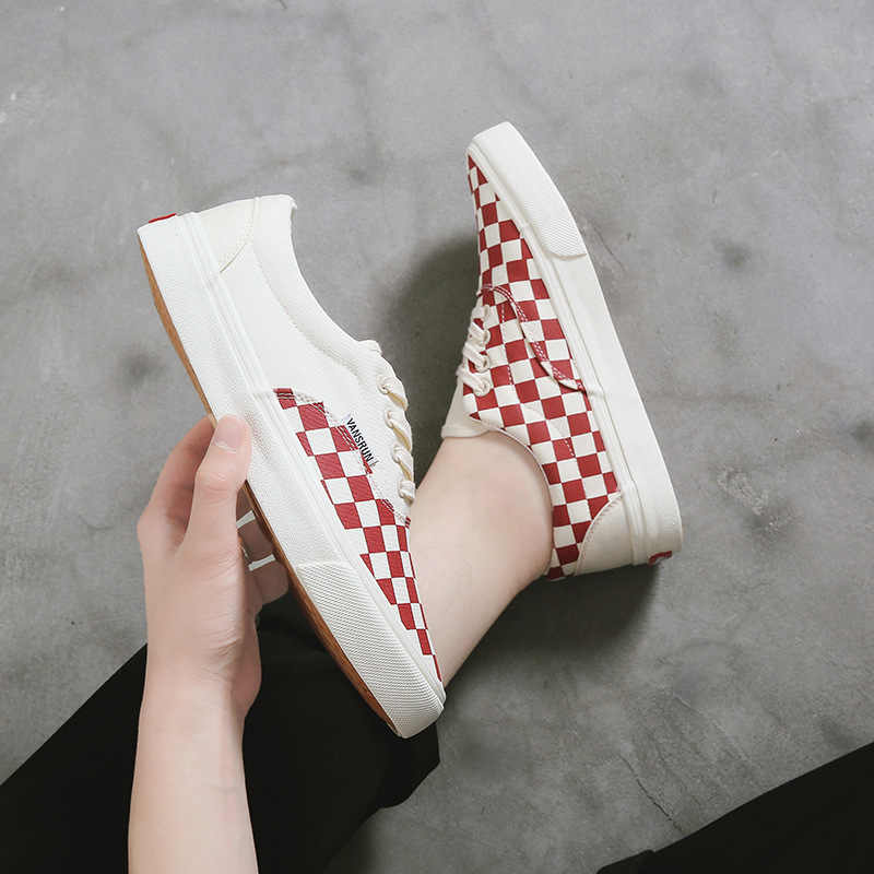 2019 Pato Mandarín tablero a cuadros estilo clásico Unisex zapatos lona zapatos con cordones estudiantes deportivos parejas versátil Skate Sh