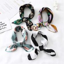 Женский шелковый шарф квадратный платок дамские шейные шарфы дизайнерский платок с принтом модные шарфы для волос для девушек