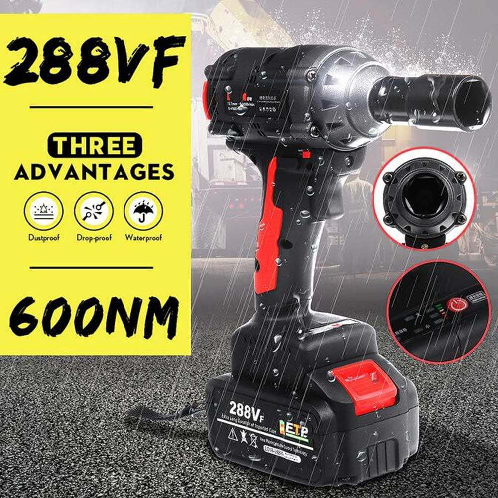 Brushless Electric Wrench 288VF 600N m Wireless Brushless Impact Wrench Socket Wrench Rechargeable Power Tool Drill Installation