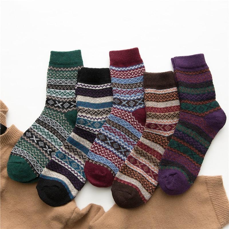 5 Pairs High Quality Winter Women Socks Soft Warm Dress Against Cold Warm Wool Socks Winter Thick Harajuku Retro Casual Socks