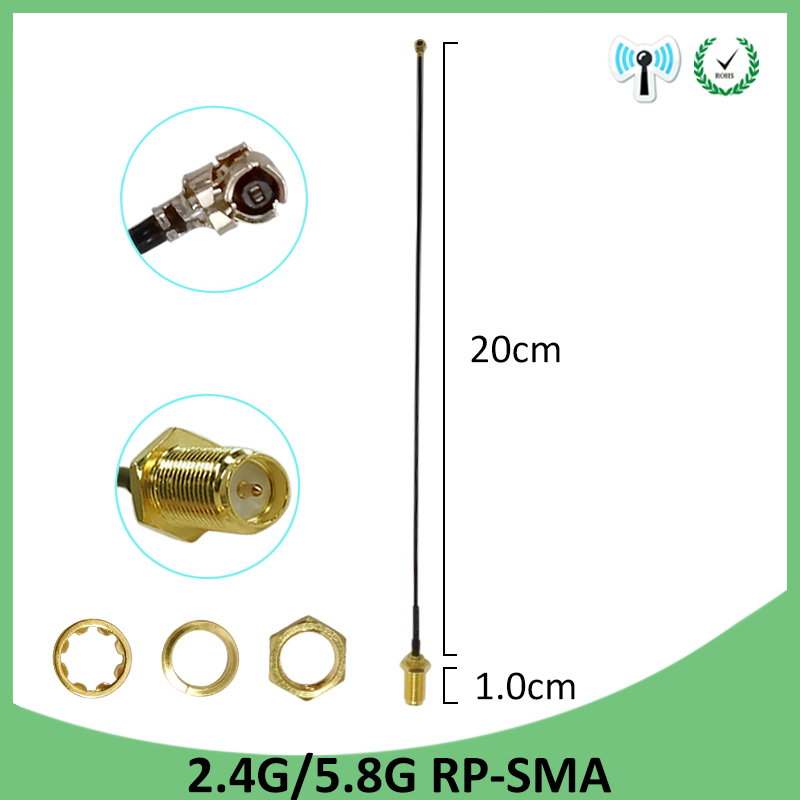 5pcs 2 4GHz 5GHz 5 8Ghz Antenna real 8dBi RP SMA Dual Band 2 4G 5G 5 8G wifi Antena aerial SMA female 21cm RP SMA Pigtail Cable in Communications Antennas from Cellphones Telecommunications
