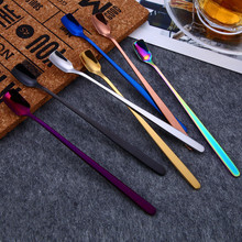Flatware Kitchen Spoon with Long Handle Ice Dessert 7 Colors Coffee Tea Home Tableware for Wholesale