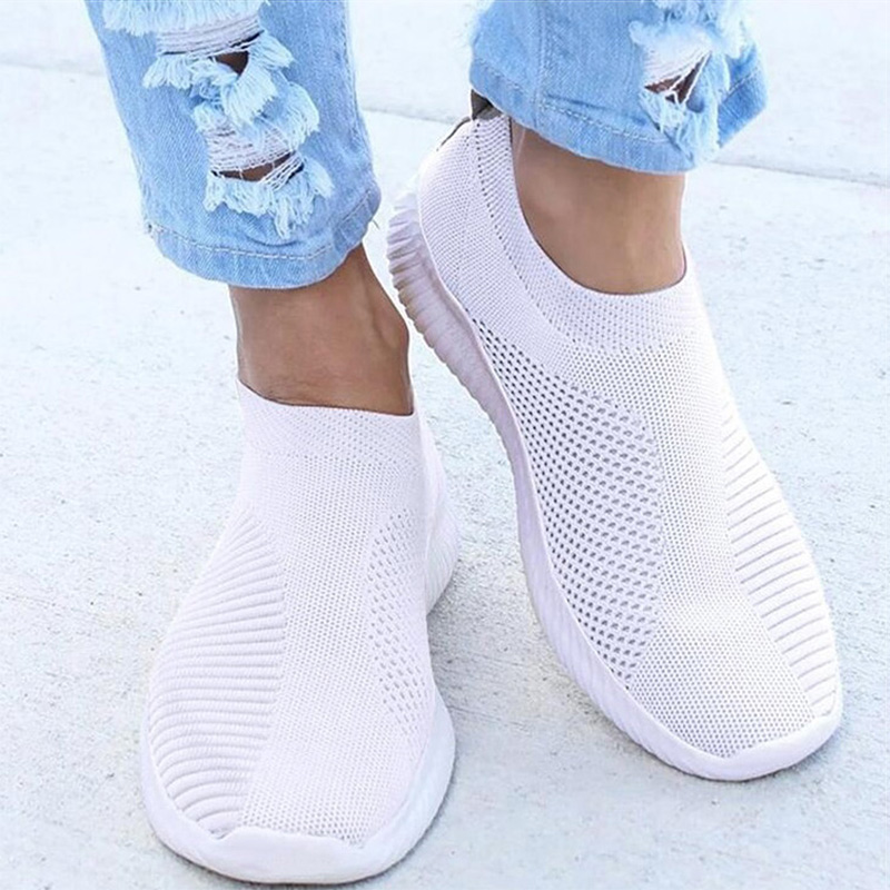 Women sneakers shos 2020 knitted mesh breathable comfort slip-on shoes zapatos de mujer ladies walking shoes tenis feminino