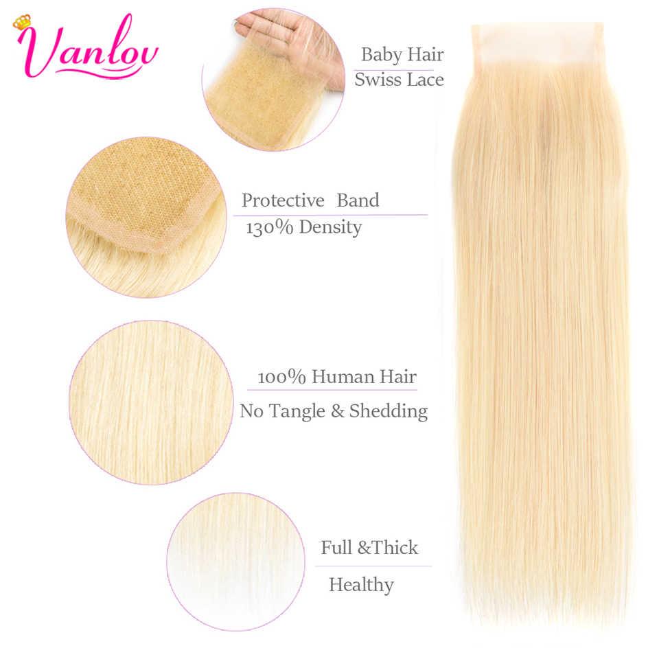 Vanlov 613 Blonde Bundles With Closure Brazilian Hair Weave Bundles With Closure Straight Human Hair Bundles With Closure Remy