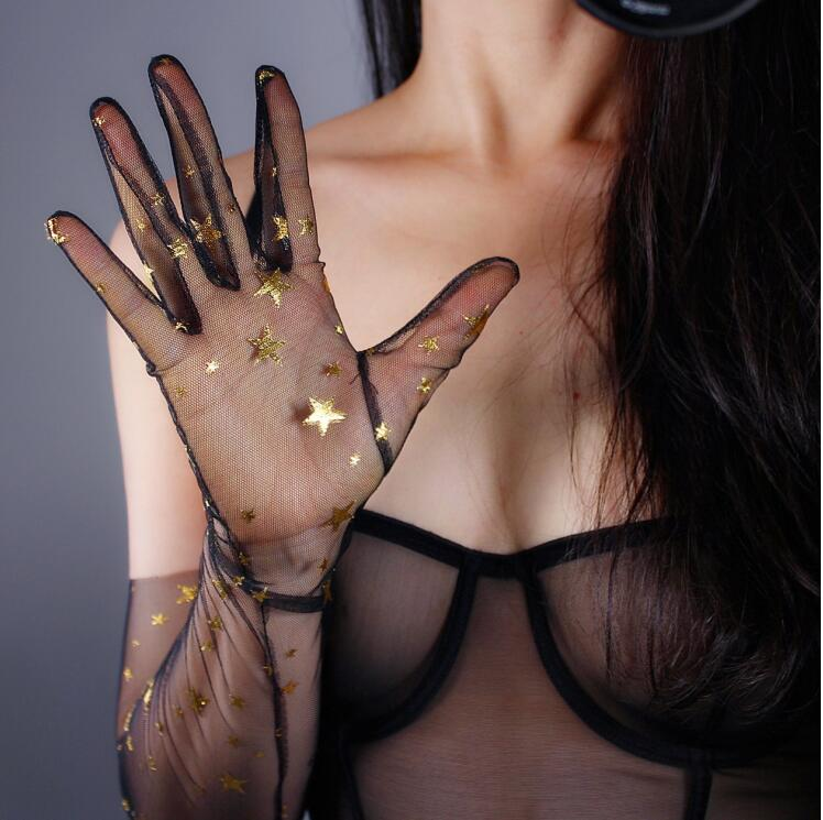 Image 4 - Women's sexy shiny sequins black glove female club party dancing long glove R1865-in Women's Gloves from Apparel Accessories on AliExpress