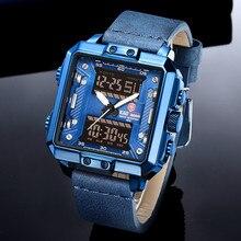 KADEMAN 새로운 스퀘어 시계 망 럭셔리 군사 스포츠 남성 시계 톱 브랜드 LED 디지털 석영 손목 시계 가죽 Relogio Masculino