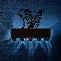 Deer Hunter Wand Schlüssel Organizer mit 5 Schlüssel Haken für Eingangsbereich Jäger Club LED Jagd Wand Kunst Mann Cave beleuchtung Dekor
