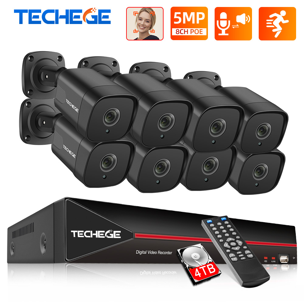 Techege 8CH H 265 5MP POE NVR Kit Face Dectection CCTV Security Camera System Kit Outdoor Onvif Video Surveillance Camera Kits