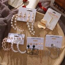 Fashion Round Heart Earrings For Women Elegant Pearl Earrings Set Gold Color Geometric Circle Dangle Earrings 2020 Jewelry New