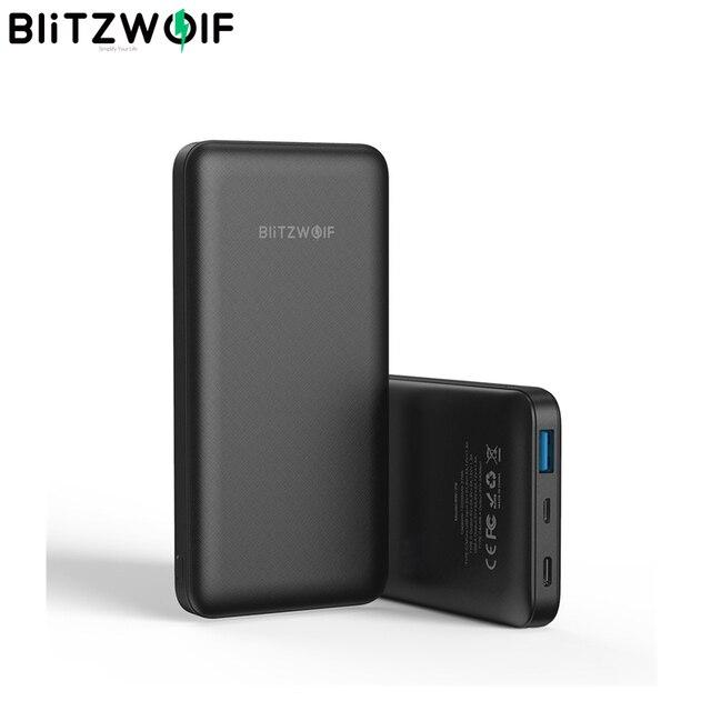 """BlitzWolf BW P9 18W 10000mAh USB פ""""ד QC 3.0 כוח בנק סוג C מהיר טעינה כפולה עבור iPhone 12 פרו מקסימום עבור Xiaomi עבור Huawei"""