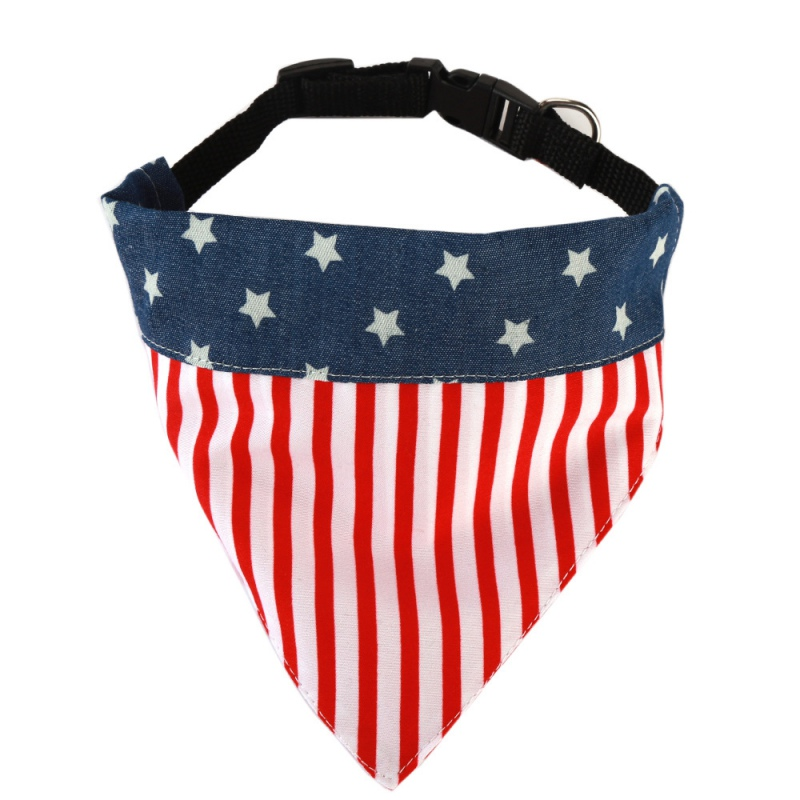 Fashion Dog Bandana American Flag font b Pet b font Dog Scarf Cotton Adjustable Bib Puppy