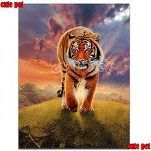Quadrado broca redonda diy pintura diamante animal tigre no pôr do sol ponto cruz mosaico bordado padrão strass pintura presente