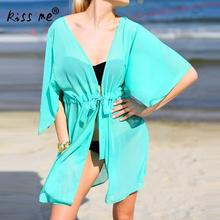Drawstring Bikini Cover Up Solid Beach Dress Women Wear Tunic Front Slit Waist Control Kaftan Sarong Wrap Suit
