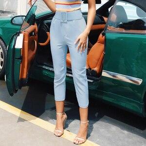 Image 2 - Instahot 탄성 지퍼 높은 허리 연필 바지 여성 가을 슬림 스트레치 바지 캐주얼 streetwear 여성 스키니 겨울 블랙
