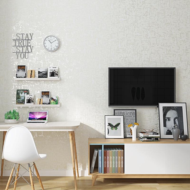 Solid White Faux Diatom Mud Non-woven Wallpaper Living Room Bedroom Modern Minimalist Studio TV Backdrop Wallpaper