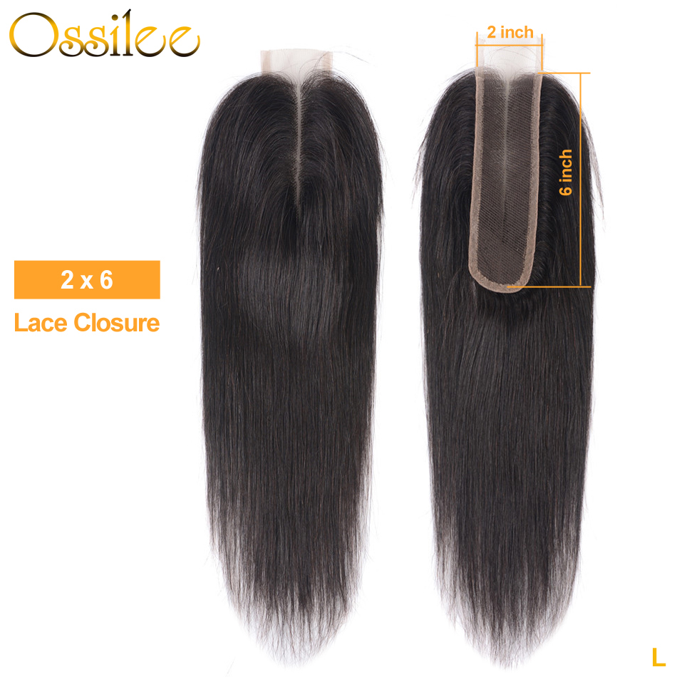 Ossilee Brazilian Lace Closure 2X6 Straight Lace Closure 100% Human Hair Middle Part 8-20 Inch Remy Hair Free Shipping Low Ratio