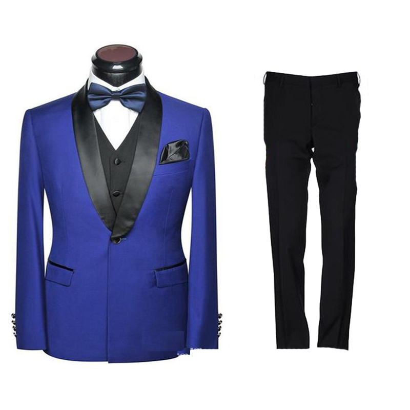 2020 Latest Design Blue Three Pieces Wedding Men Suits Slim Fit Groom Best Man Tuxedos Business Prom Dress(Jacket+Pants+Vest)