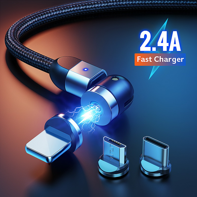 GETIHU 3A 540° Rotate Magnetic Phone Cable Micro USB Type C Charger Magnet Charging Cord For iPhone 11 Pro XS Max Samsung Xiaomi|Mobile Phone Cables| |  - AliExpress