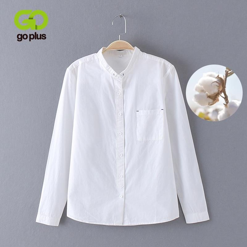 GOPLUS 2019 White Blouse Women's Shirt Cotton Womens Tops And Blouses Vintage Stand Collar Blusas Mujer De Moda 2019 Haut Femme