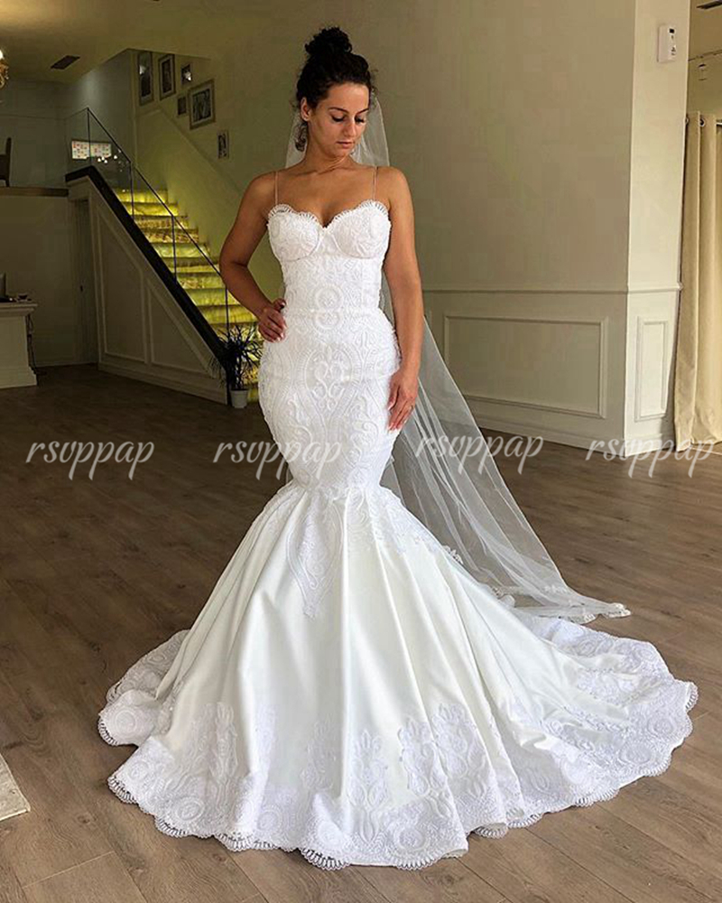 Sexy Sweetheart Spaghetti Strap Bridal Wedding Gowns Lace Mermaid White Satin Women Trumpet Wedding Dresses 2019