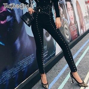Image 1 - TWOTWINSTYLE 가을 패치 워크 구슬 여성 청바지 하이 웨이스트 슬림 데님 발목 길이 바지 여성 2020 Streetwear Fashion New