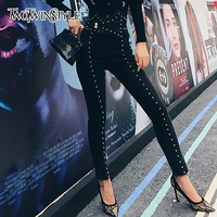 TWOTWINSTYLE Autumn Patchwork Beading Women's Jeans High Waist Slim Denim Ankle Length Pants Female 2019 Streetwear Fashion New
