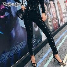 TWOTWINSTYLE sonbahar Patchwork boncuk kadın kot yüksek bel ince Denim ayak bileği uzunluğu pantolon kadın 2020 Streetwear moda yeni