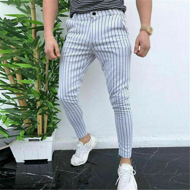 New Men's Striped Casual Slim Fitness Pants Male Trousers Business Pencil Casual Fashion Elastic Bodybuilding Streetwear 2