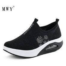 MWY Woman Casual Shoes New Arrival Breathable Women Fashion Wedges Platform Women Air Mesh Slimming Shoes Tenis feminino