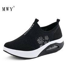 Mwy sapatos femininos de malha, nova moda feminina respirável, casual, com plataforma, malha de ar