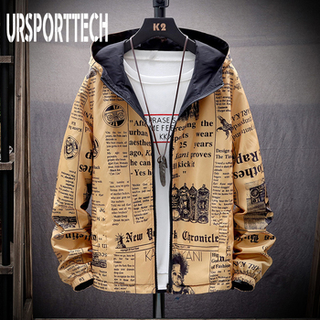 Spring Autumn Thin Windbreaker Jacket Men Reversible Letter Print Streetwear Couple Jacket Coat Young Male Hooded Bomber Jacket fashion skulls ghost devil jackets men women couple funny joker windbreaker windproof thin pocket hooded jacket