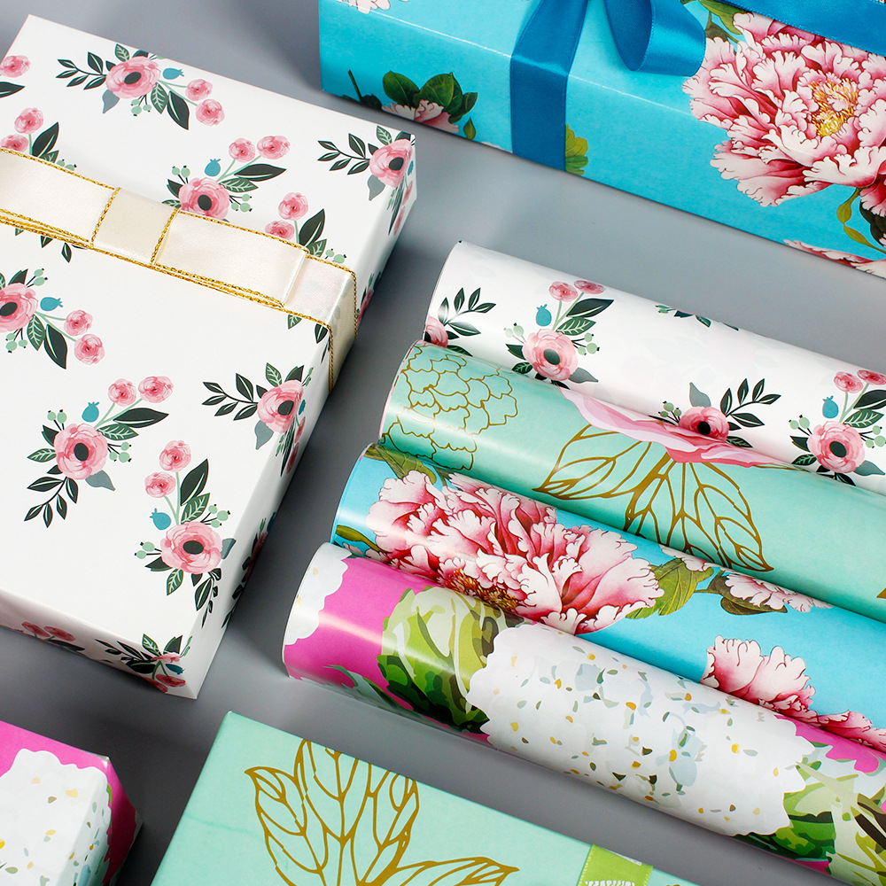 50x70cm Gift Floral Style Wrapping Paper Roll For Wedding Kids Birthday Holiday Baby Shower Gift Wrap Craft Paper Decor Gifts