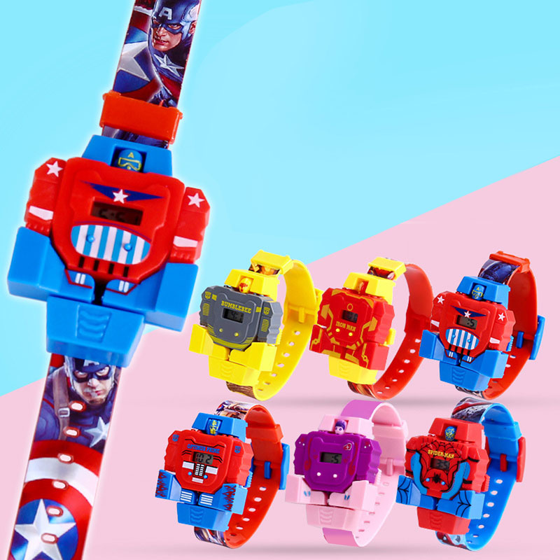 Cool  Deformation  Waterproof  The Robot  Children Watch Toy  Cartoon  Students  Electronic Kids Watches