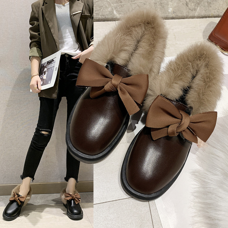 2019 winter long plush warm fur shoes bow tied decorate slip-on leather bullock shoes woman anti-skid chunky leisure espadrilles 41