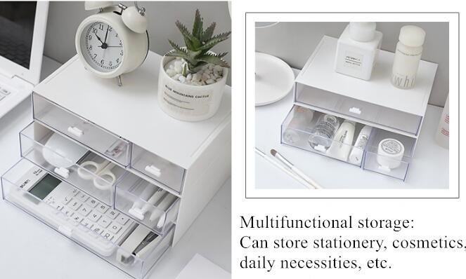 White Plastic Cosmetic Storage Box Drawer Makeup Organizer Clear Pen Container Desktop Stationery Organizer Drawer Sundry Box