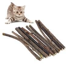 10 pçs puro natural catnip pet cat molar creme dental vara gato limpeza dentes brinquedo para o produto do gato