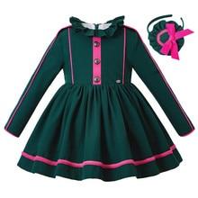 الجملة Pettigirl جديد عيد الميلاد الأخضر الداكن مع عقال فستان فتاة مع زر الفتيات ملابس الاطفال فستان الشتاء