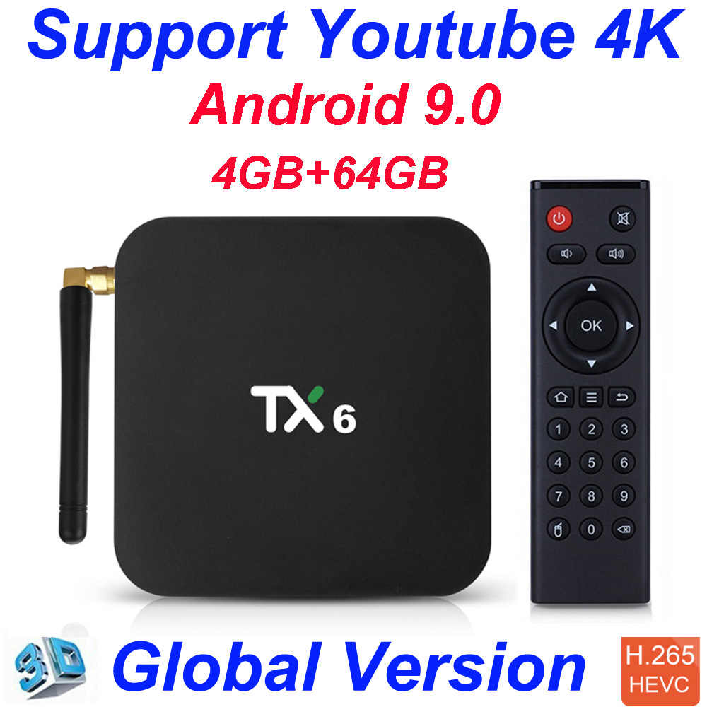 TX6 Allwinner H6 4GB 32GB 4GB 64GB Android 9.0 TV Box Hỗ Trợ 4K Đôi Wifi youtube Netflix Smart TV Box PK Tanix TX6 X96mini