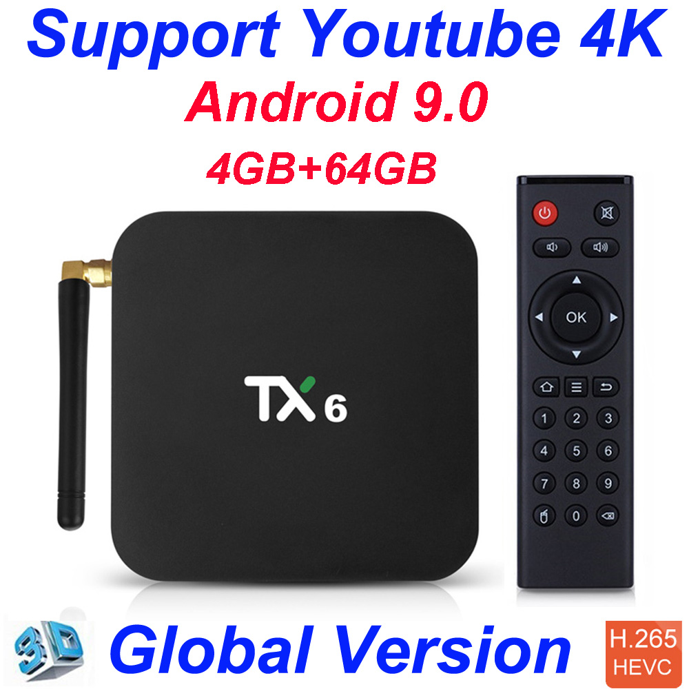 TX6 Allwinner H6 4GB 32GB 4GB 64GB Android 9.0 Tv Box Support 4K Double WiFi Youtube Netflix Smart TV Box PK Tanix TX6 X96mini