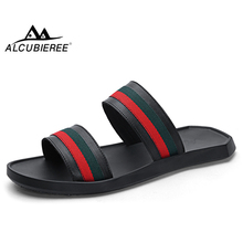 ALCUBIEREE Brand Summer Mens Fashion Striped Slippers Outdoor Breathable Beach Shoes for Man Lightweight Sandals Cool Flip Flop